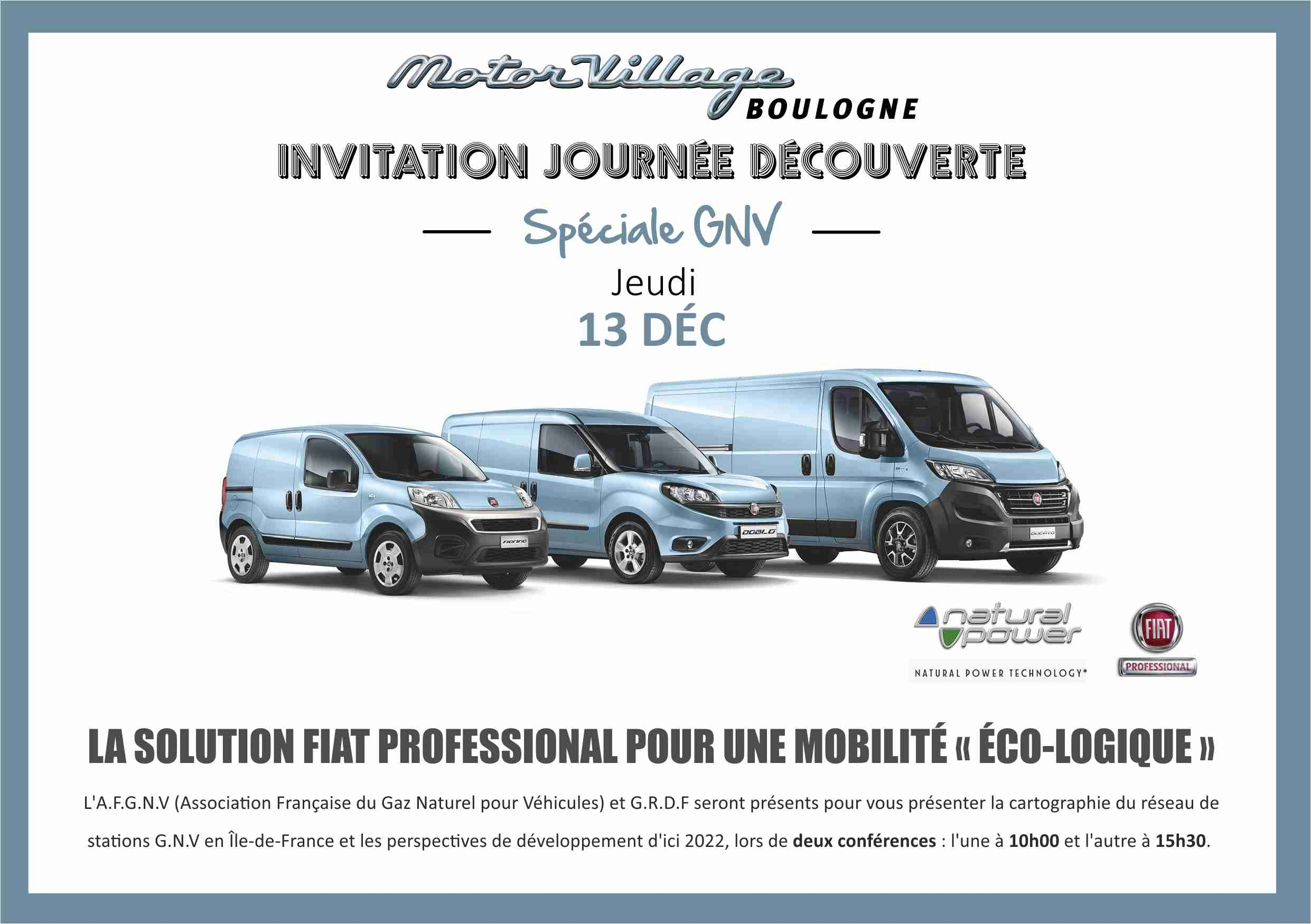 Le 13 décembre 2018, participez à la journée spéciale GNV organisée par FIAT Professsional à Boulogne (92)