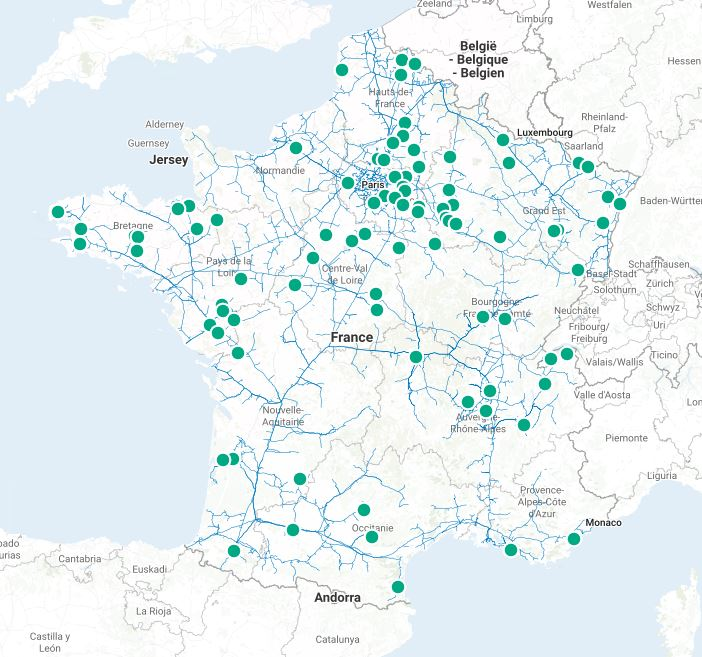 Carte des sites d'injection de biométhane