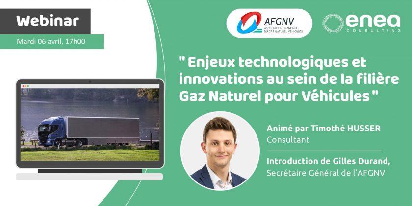 Le 6 avril 2021, webinaire sur l'innovation au sein de la filière GNV/bioGNV