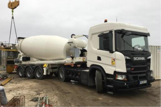 Scania réalise une première en France : Tracteur gaz et malaxeur électrique