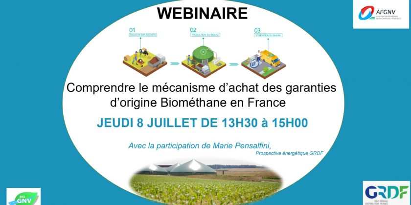 Le 8 juillet 2021, webinaire sur les Garanties d'Origine du biométhane