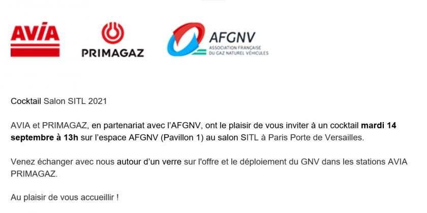 Le 14 septembre, AVIA et PRIMAGAZ vous donnent rendez-vous à 13h00 sur l'espace AFGNV de la SITL